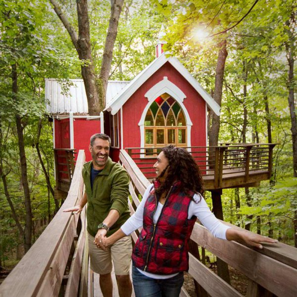 Spend the night in a treehouse at the Mohican Cabins in Ohio